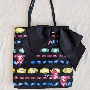 Brighton Take a Beau Black Bow Tote Bag